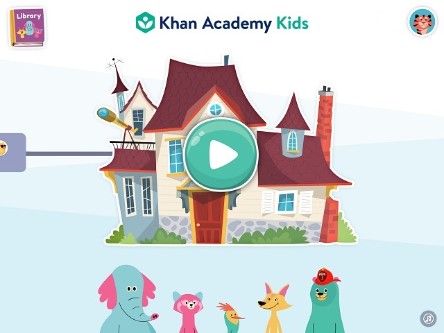 Khan Academy Kids(カーンアカデミーキッズ) 左端に「Library」