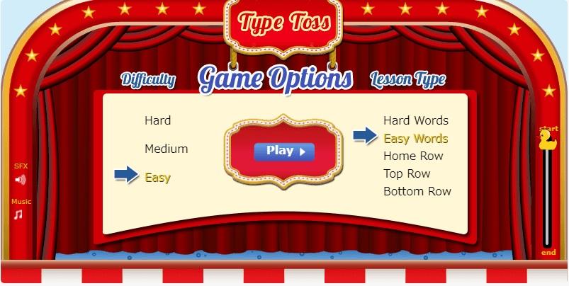 Typing.comのゲーム TypeToss Easyモードが選べます